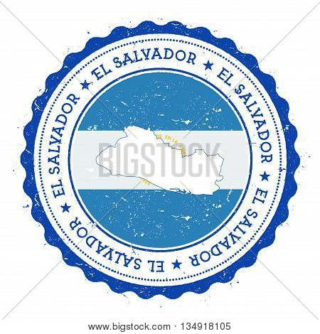 El Salvador Map And Flag In Vintage Rubber Stamp Of State Colours. Grungy Travel Stamp With Map And