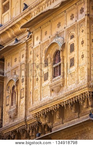 Nathmalji ki Haveli at Jaisalmer, India. Architectural detail