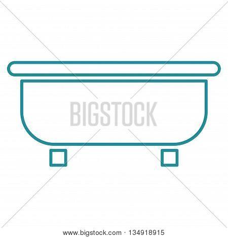 Bathtub glyph icon. Style is contour flat icon symbol, soft blue color, white background.