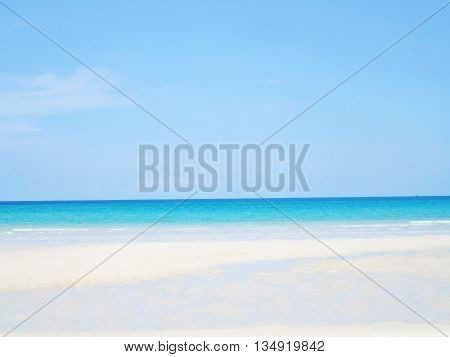 Empty sea and beach background in summer with copy space. Clear blue sky beautiful tropical sea blue water and nice beach white sand for background or wallpaper.