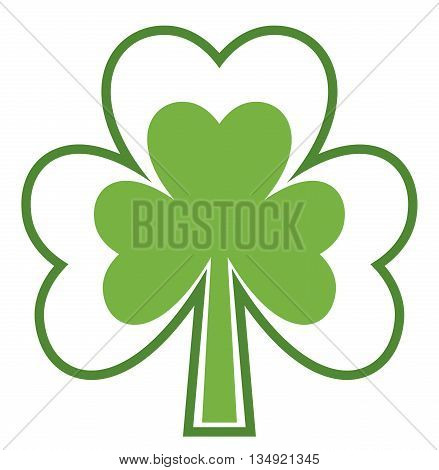 Shamrock icon. Four leaf clover. Abstract tree. Isolated on white background. Good luck symbol