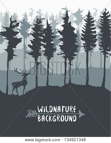 Forest background design template with pine tree and deer silhouette hand drawn vector illustration