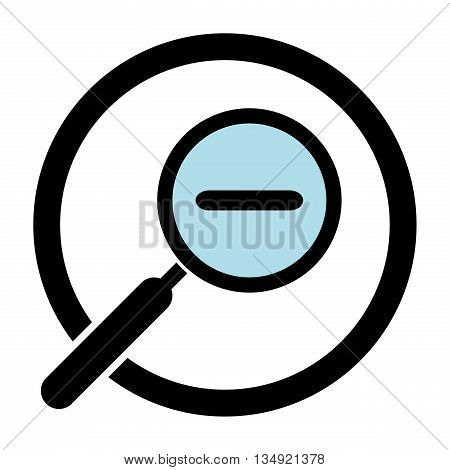 Zoom out magnifier icon. Magnifying glass in a circle. Hand glass icon. Magnifier silhouette. Isolated. White background