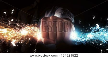 Man catch stream of light