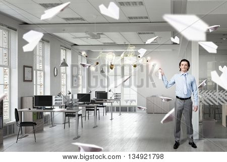 Businessman with aerosol can . 3D render