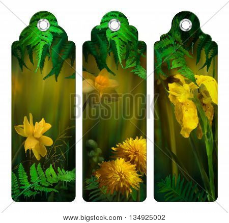 Set of decorative tags or bookmarks with watercolor flowers. Floral digital painting. Daffodils, Dandelions, yellow Iris under the fern leaves