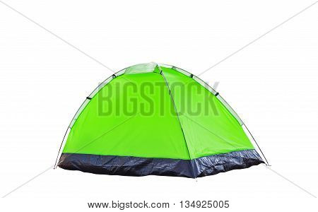 Isolated Green Dome Tent On White