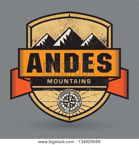 Stamp or vintage emblem with text Andes Mountains, vector illustration