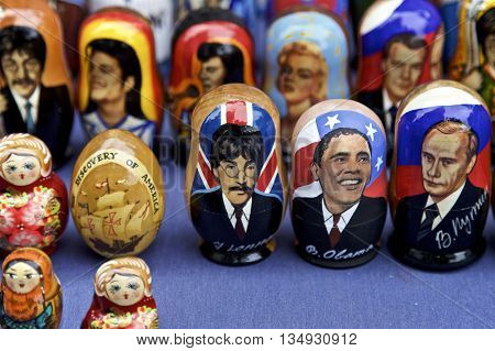 Russian Dolls of famous people John Leonard Barack Obama Vladimir Putin displayed in New York City, USA
