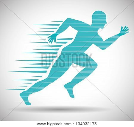 Running represented by man of side figure design over isolated and flat illustration