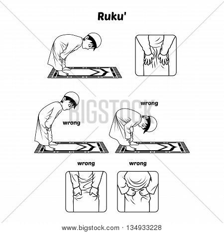 Muslim Prayer Position Guide Step by Step Perform by Boy Bowing and Hands Holding The Knee with Wrong Position Outline Version Vector Illustration