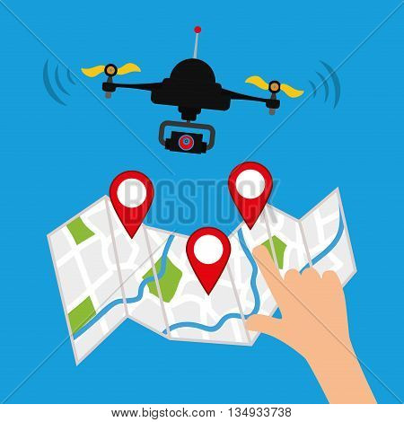 Technology represented by helicopter drone with map design,  flat illustration