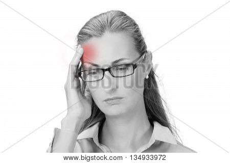 Awful headache. Mature business woman holding head in hands and keeping eyes closed while standing against white background