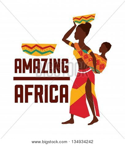 Africa represented by his woman design over isolated and flat illustration