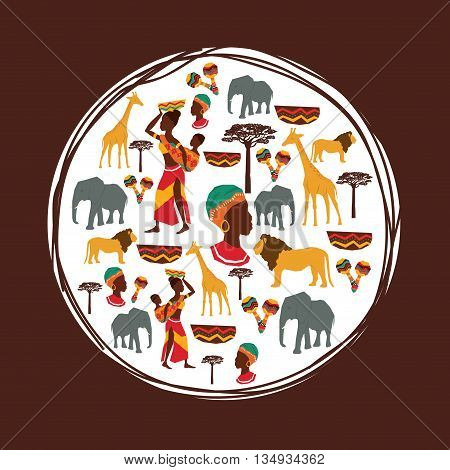 Africa represented by his animals and people design over circle and flat illustration