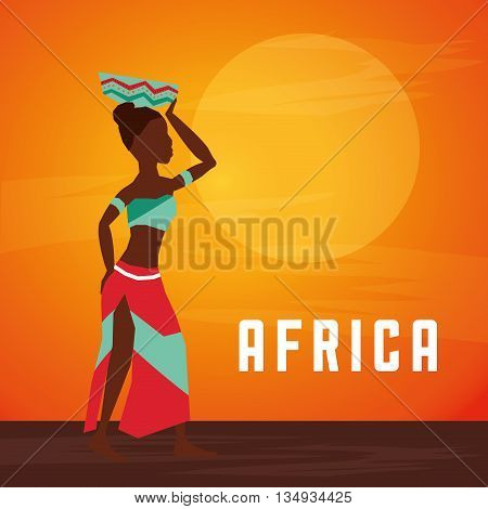 Africa represented by his woman  design over landscape design and flat illustration