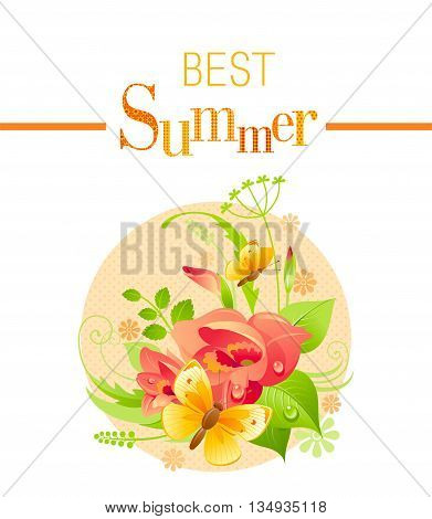 Summer icon with nature elements - gladiolus flower, green grass, leafs, butterfly on orange background