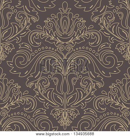 Oriental vector classic pattern. Seamless abstract background with repeating elements. Brown and golden pattern