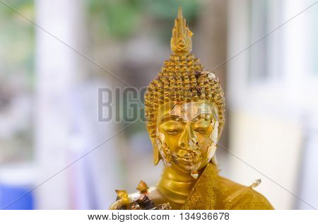 Closeup of golden buddha in Sutuch temple ,in Bangkok Thailand. Focus on eye.Taken on November 23, 2015.