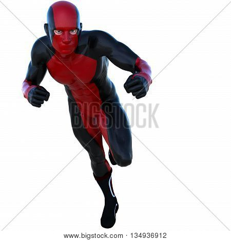 young strong man in a red and black super suit. Runs on the camera left side. 3D rendering, 3D illustration