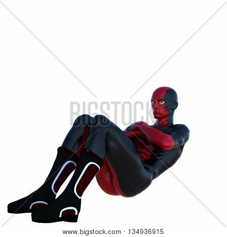 young strong man in a red and black super suit. Coached a press lying. 3D rendering, 3D illustration