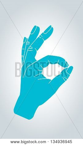 OK sign hand gesture. OK approval agreement and all is well gesture symbol in thin line style.