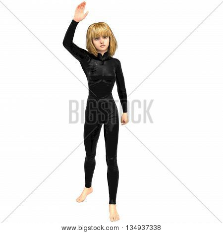 one teenage girl in a black super suit. Raised her right hand in greeting. 3D rendering, 3D illustration