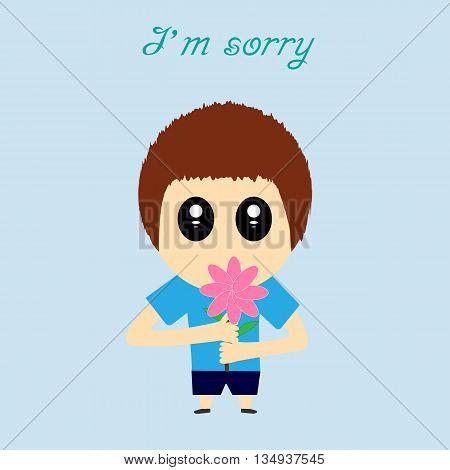 I'm sorry design card . Hand drawn cartoon with flower. Conceptual lettering. Vector illustration. EPS10
