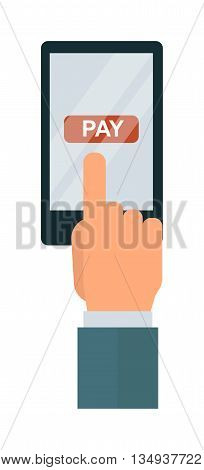 Touch screen hand digital tablet smart virtual wireless technology. Computer digital display concept touch screen hand. Vector touch screen hand interface communication business tablet.