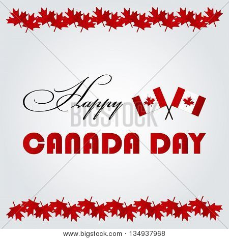 Happy Canada Day card with canadian flags and red maple leaves.