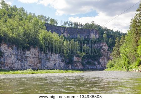 Steep Cliffs On The Ai River During The Rafting, Ural, Russia