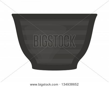 Black soup cup plate pot vector single cup breakfast food and ceramic flat soup cup. Black plate food beverage kitchen accessory flat vector. Black soup cup plate