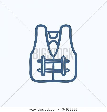 Life vest vector sketch icon isolated on background. Hand drawn Life vest icon. Life vest sketch icon for infographic, website or app.