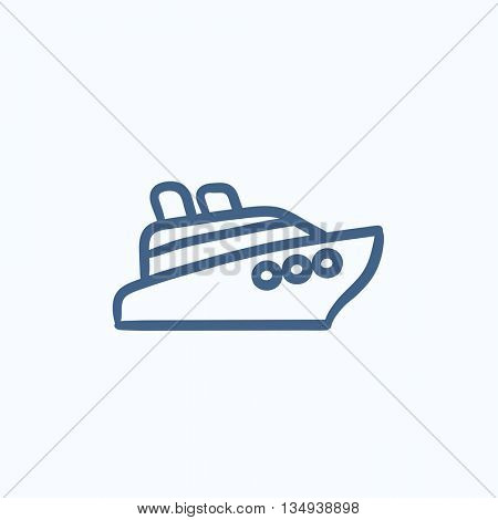 Cruise ship vector sketch icon isolated on background. Hand drawn Cruise ship icon. Cruise ship sketch icon for infographic, website or app.