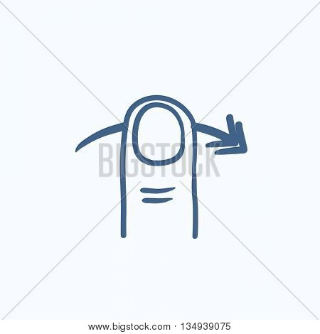 Swipe right touch screen gesture vector sketch icon isolated on background. Hand drawn Swipe right touch screen gesture icon. Touch screen gesture right sketch icon for infographic, website or app.