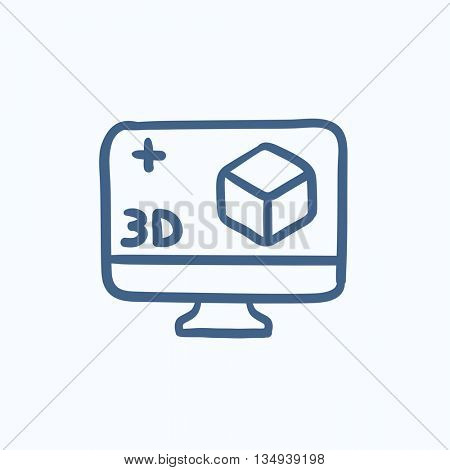 Computer monitor with 3D box vector sketch icon isolated on background. Hand drawn Computer monitor with 3D box icon. Computer monitor with 3D box sketch icon for infographic, website or app.