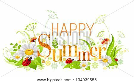 Summer floral background with beautiful swirls, leafs, daisy flowers, ladybugs insects and text Happy Summer with textured letters on white background. Vector illustration for any summer event.