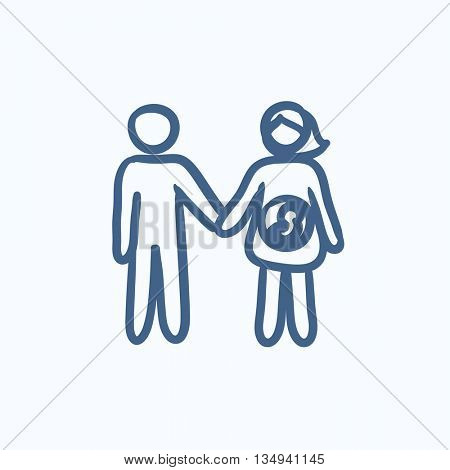 Husband with pregnant wife vector sketch icon isolated on background. Hand drawn Husband with pregnant wife icon. Husband with pregnant wife sketch icon for infographic, website or app.
