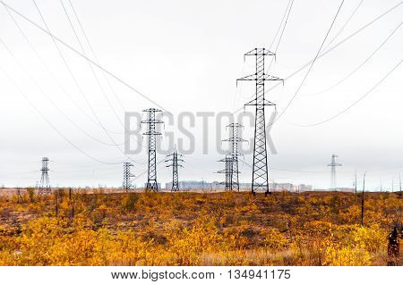 Supports High-voltage Line. The Tundra In The Arctic Circle