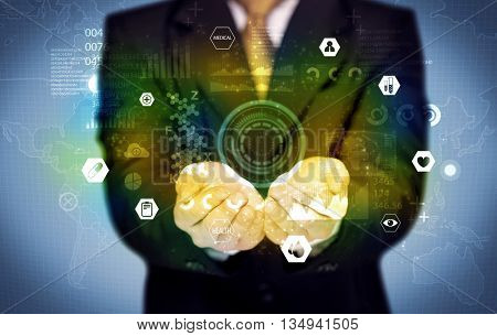 A business analytics person analyzing the health status of the world from its hands with illustrated pie charts and graphs concept