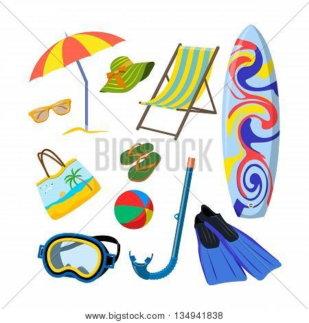 Vector set of summer objects isolated on white background. Design elements and icons in flat style. Beach vacation concept.