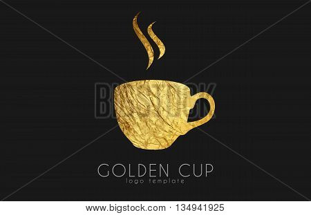 Golden tea cup. golden cup. coffee cup logo.