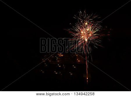 new year firework on black background abstract