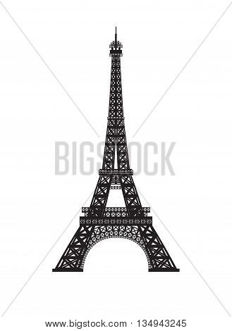Eiffel tower isolated on white background. Linear graphic stroke logo of France and Paris symbol. Vector illustration.