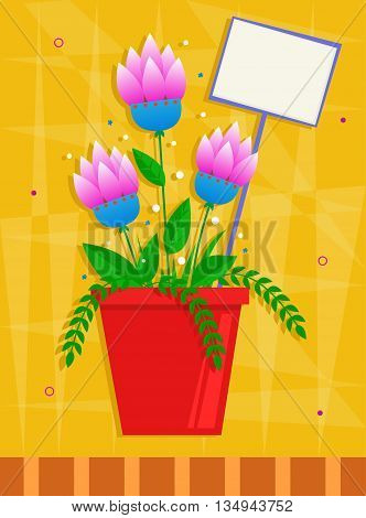 Pink flowers in a red pot in front of a yellow decorative background. Eps10