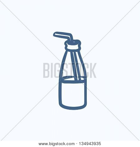 Glass bottle with drinking straw vector sketch icon isolated on background. Hand drawn Glass bottle with drinking straw icon. Glass bottle with straw sketch icon for infographic, website or app.