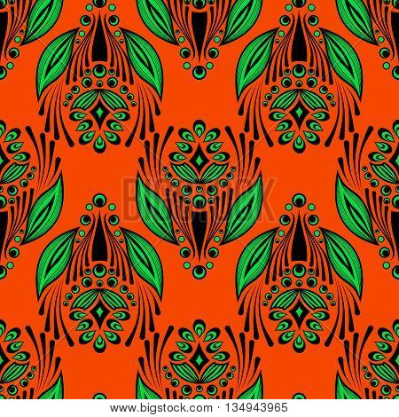 Seamless floral pattern with abstract doodle flowers on orange background. Vector illustration. Can be used for fabrics, wallpapers, wrapping design, scrap-booking, web sites, flyers, invitation