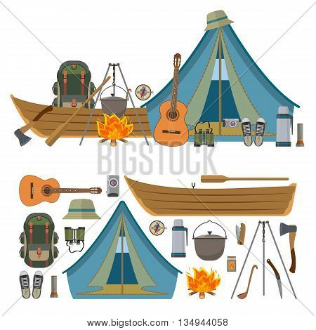 Vector set of camping objects and tools isolated on white background. Camp equipment icons, tourist tent, boat, backpack, fire, guitar.