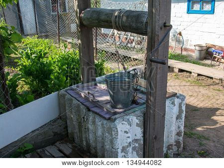 Old cement well in the country side