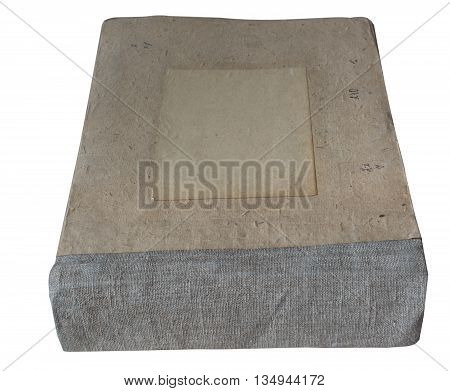 Old worn out vintage book isolated on white background